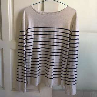 Uniqlo striped boat neck long sleeve t shirt