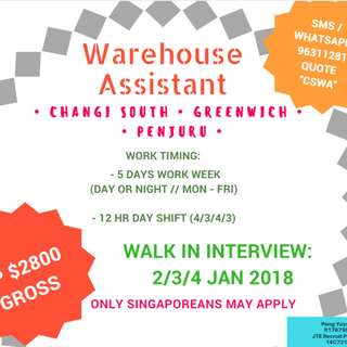 WALK-IN: Warehouse Assistant / Storekeeper (UP $2800)