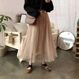 • 仙女絲帶網紗半身百褶氣質裙