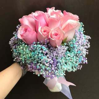 Bridal bouquet pink roses and Coloured Baby Breath