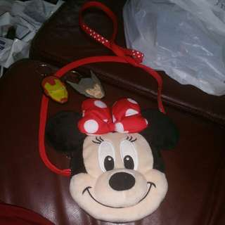 Minnie Mouse crossbody bag from Disneyland Tokyo with Iron Man & Thor keyrings