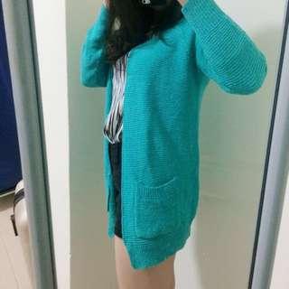 🚚 湖水綠針織罩衫外套