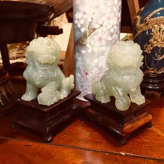 Jade craved foo dog pair statue