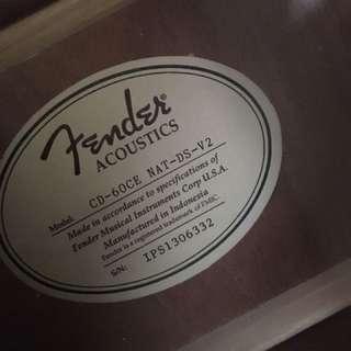 Fender acoustic guitar model cd 60ce