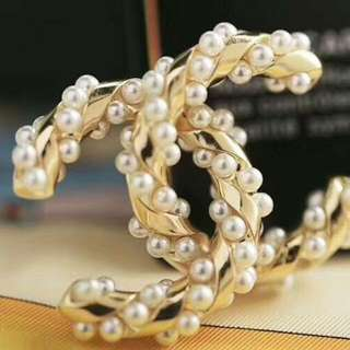 Chanel Double C Brooch With Pearls Embalishment