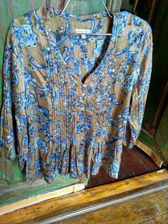Laura ashley loose batik blouse