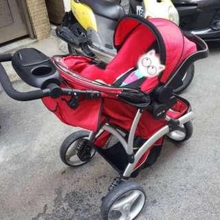 **欣康 SYNCON 歐式風格三輪嬰兒手推車+提籃型推車汽座
