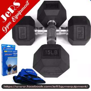 15lbs (pair) Hex Dumbbell with Fitness Gloves