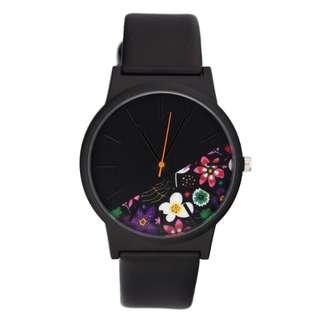 Marc flower theme unisex watch