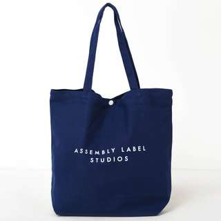 Assembly Label Canvas Tote Bag in Navy