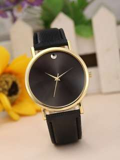 🚚 Minimalist black leather Watch