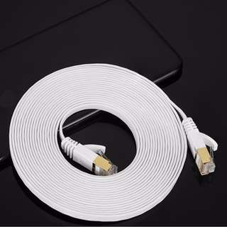 10 meters CAT6 lan cable (RJ45)  White flat cable with gold plated connector 1000Mbps