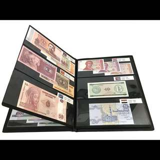 UNC 100PCS 50 Countries Currency World Genuine Money including Zimbabwe Billion Complete With Black Album + Country Label