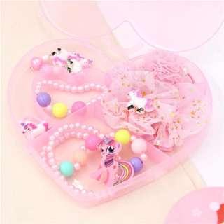 💖 READY STOCK 💖 Little Pony Kids Children Jewelry Combination Set Gift Box