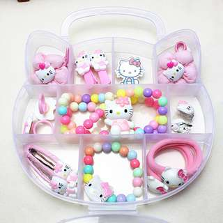 💖 READY STOCK 💖 Rainbow Hello Kitty Kids Children Jewelry Combination Set Gift Box