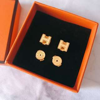 Hermes H Cube earrings 全金色