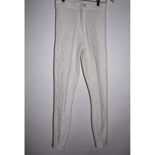 White High-Wasited Patterned Stretchy Pants