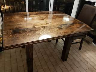 Rustic style square wood dining table