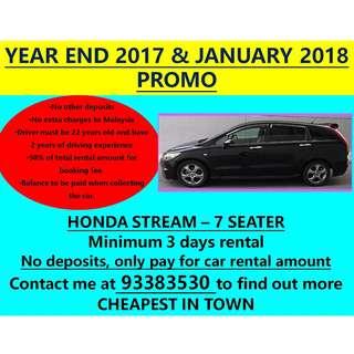CHEAP PERSONAL CAR RENTAL MPV HONDA STREAM