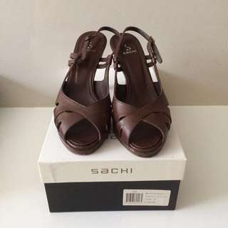 Sachi Brown Leather Slingback Heels