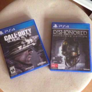 Ps4 games COD ghost + dishonored