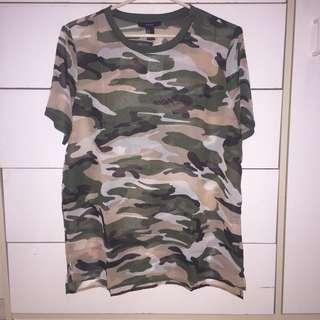 Forever 21 Sheer Camo Shirt