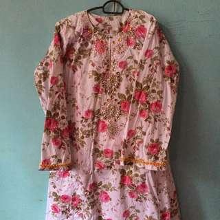 baju kurung cotton floral vintage (with beading diamond)