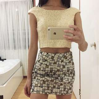 Light Yellow Sequin Embroidered Crop Top