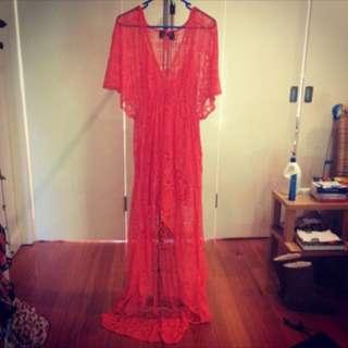 H&M Orange Lace Hi-lo Maxi dress