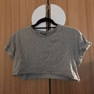 Super cute grey short-sleeve crop top