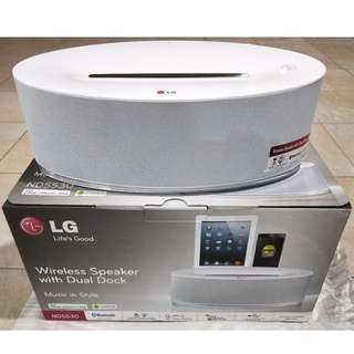 BRAND NEW! LG wireless Speaker with Dual Dock ND5530 Made for iPhone, iPad,iPod - Bluetooth, lightning Connector, dock and direct play for android, etc