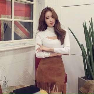 韓版時尚✨性感胸洞設計修身上衣(2色)