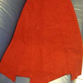 🚚 暗紅色 韓國不規則毛呢裙