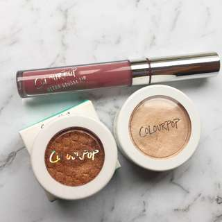COLOURPOP HIGHLIGHTER, EYESHADOW AND GLOSS