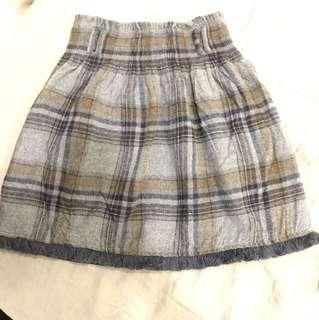 Zara 毛料格子及膝裙#我的女裝可超取