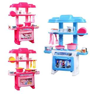 Mini Kitchen Cartoon Themed Series Kitchen Playset With Full Utensils Set
