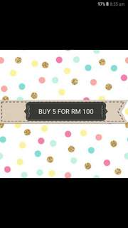 Buy any 5 clothes for RM 100!