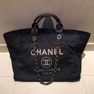 (米蘭直送)Chanel denim blue Shopping tote bag 牛仔布袋 手袋