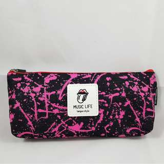 Splatter Paint Pencil Case (Pink with Black)
