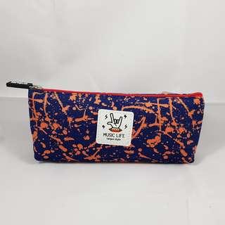 Splatter Paint Pencil Case (Orange with Blue)