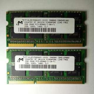 2GB DDR3 1066 RAM NOTEBOOK