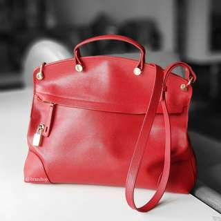 Authentic Furla Red Leather Piper Tote