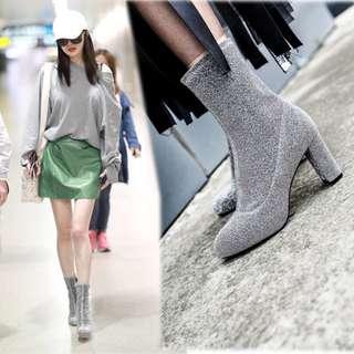2017秋冬新款彈力銀絲粗跟短靴楊冪同款銀灰色亮絲馬丁靴高跟女靴