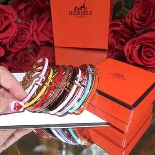 Hermes Clic Clac H Enamel Bangle Bracelet Bangkok Gold White