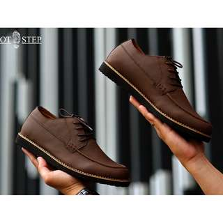 Costa Dark Brown - Footstep Footwear | Derby Shoes Sepatu Sneakers Pria Warna Cokelat Tua Size 40-44