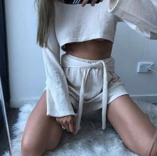 ⚡️ SABOSKIRT - OLLA ribbed tie shorts (size M)