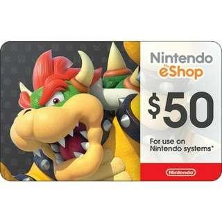 Nintendo eshop credit 50usd