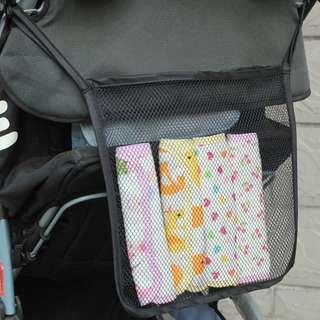 Baby Stroller Diaper Hanger Storage Net Bag (Black)