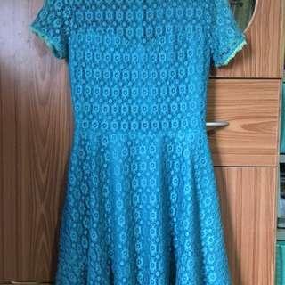 Green Mesh Lace Dress