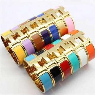 Hermes Clic Clac H Enamel Bangle Bracelet Bangkok Gold Turquoise